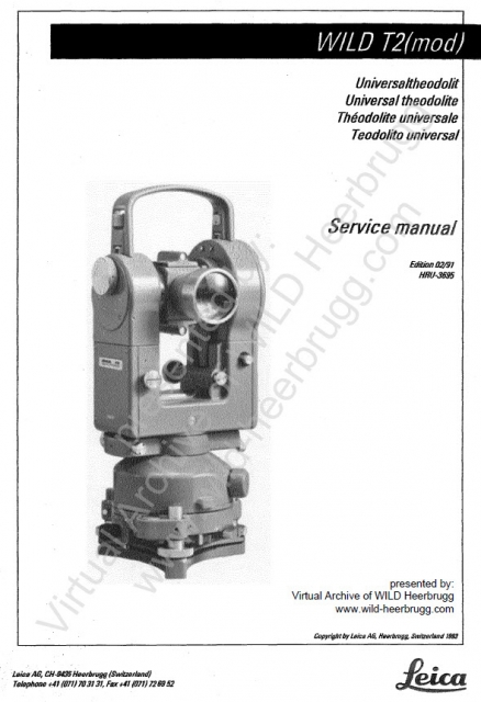 service manual for wild heerbrugg t2 mod virtual archive of wild rh wild heerbrugg com Wild T3 wild t2 service manual